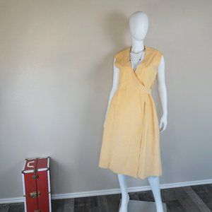 Vintage Yellow Ultra Suede Wrap Dress